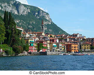 varenna - view of varenna on coast of como lake, italy