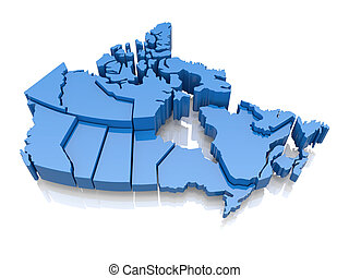 Three-dimensional map of Canada