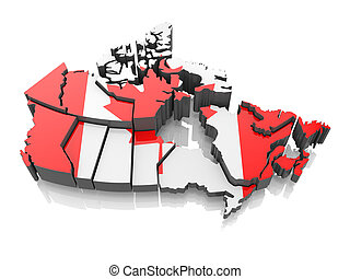 Map of Canada in national flag colors 3d