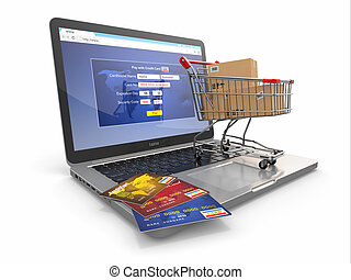 E-commerce Shopping cart and credit cards on laptop 3d