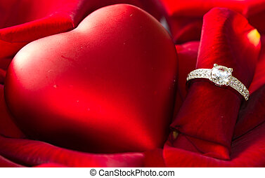 Golden diamond ring and rose - Golden diamond ring and red...