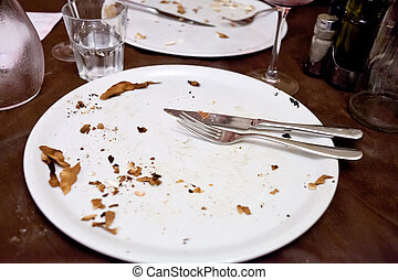 empty white plate in italian restaurant after pizza dinner