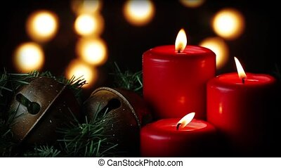 Three Red Candles & Christmas Bells