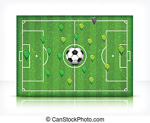 Football (soccer) field with ball