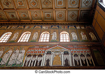 Mosaic of the Palace of Theodoric in Sant Apollinare Nuovo -...