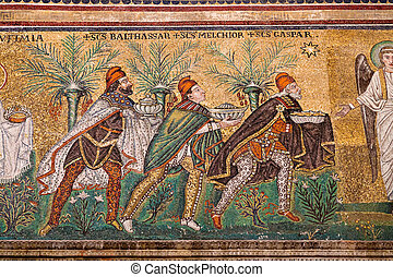 Mosaic the three magi in Sant Apollinare Nuovo in Ravenna -...