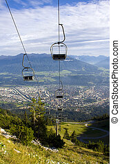 The Alps in Innsbruck - Cable car system above Innsbruck