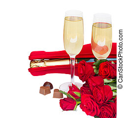 Valentine's day  champagne and roses