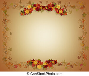 Fall Leaves Autumn card - Illustrated Fall leaves Autumn...