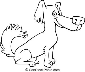 little shaggy dog cartoon for coloring book - Cartoon...