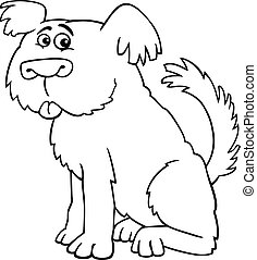 Sheepdog shaggy dog for coloring book - Cartoon Illustration...