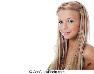 The young girl with beautiful hair
