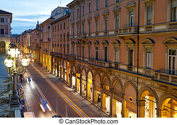 via dell Indipendenza in Bologna, Italy in autumn evening