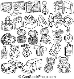 Shopping gift sketch - Doodle sketch of different shopping...