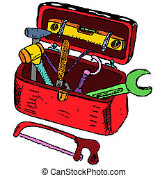Toolbox illustration - Doodle toolbox illustration made from...