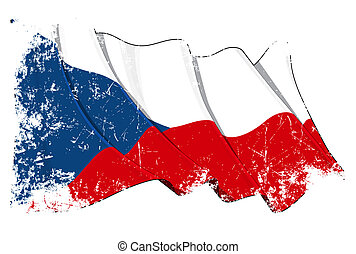 Grunge Flag of Czech Republic - Grunge cut waving flag with...
