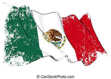 Grange Flag of Mexico - Grunge waving flag with clipping...
