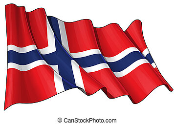 Flag of Norway - Clean cut waving flag with clipping path