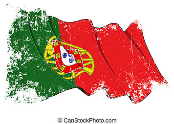 Grange Flag of Portugal - Grunge waving flag with clipping...