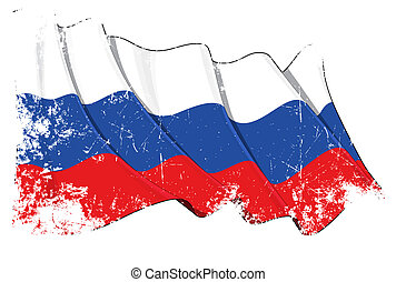 Grange National Flag of Russia - Grunge waving flag with...