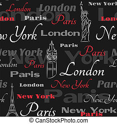 Black seamless pattern with popular cities - Seamless...