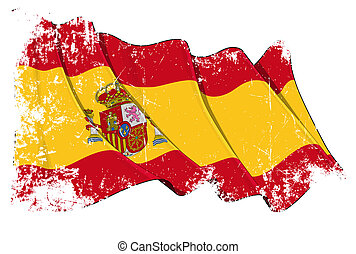 Grange Flag of Spain - Grunge waving flag with clipping...