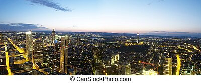 Frankfurt - Panorama of Frankfurt city at night