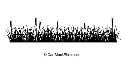 Grass and Wheat Silhouette - Design element - silhouette of...