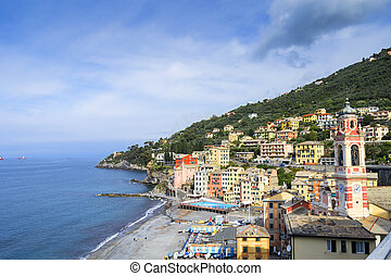 off season view of Sori, small town in Liguria, Italy