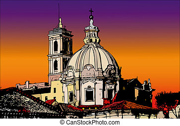 Postcards of Italy - A view of Rome