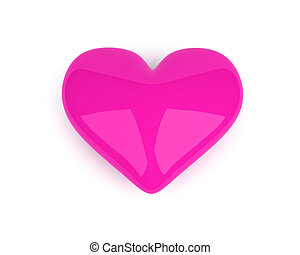 pink heart lying on the white background