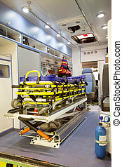 empty ambulance car - Interior of an empty ambulance car