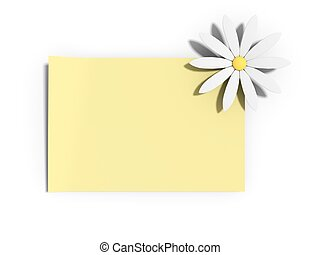 Yellow note with a daisy