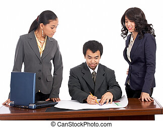Businessman and female employees
