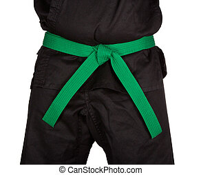 Karate Green Belt Tied Around Torso Black Uniform - Karate...