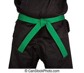 Karate Green Belt Tied Around Torso Black Uniform - Karate...