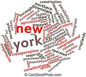 New York - Abstract word cloud for New York with related...