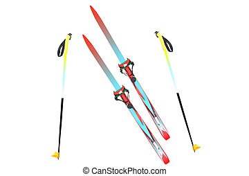 skis and ski poles - Children's skis and ski poles under the...
