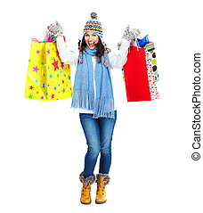 Beautiful shopping Christmas woman with bags - Shopping...