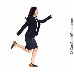 Running business woman.