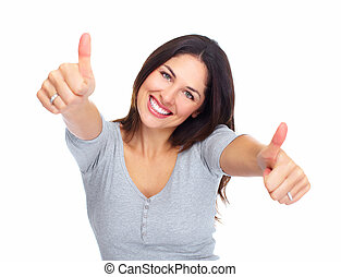 Young happy woman portrait. Success. Isolated over white...