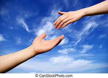 ajudando, mão