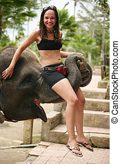 Elephant and the girl - The elephant and the girl. Bali....