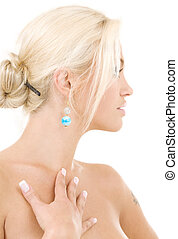 sideview - bright sideview picture of lovely blonde over...