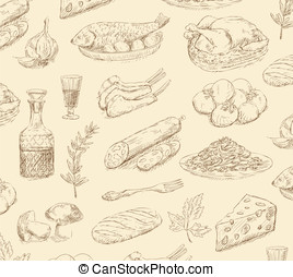 hand drawn food set vector