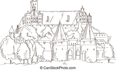 castle Malbork in Poland, vector - castle Malbork in Poland...