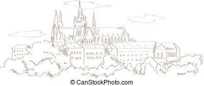 view on Prague and St. Vitus cathedral hand drawing style...
