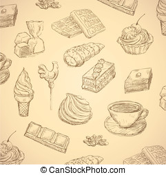 sweets hand drawn food set vector