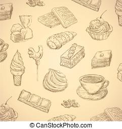 doces, mão, desenhado, alimento, jogo, vetorial