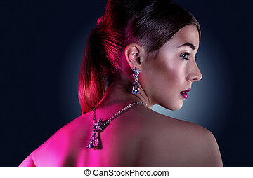 model posing in exclusive jewelry - Glamour portrait of...